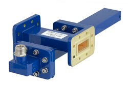 WR-112 Waveguide 50 dB Crossguide Coupler, CPR-112G Flange, N Female Coupled Port, 7.05 GHz to 10 GHz, Bronze