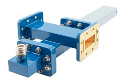 WR-137 Waveguide 20 dB Crossguide Coupler, CPR-137G Flange, N Female Coupled Port, 5.85 GHz to 8.2 GHz, Bronze