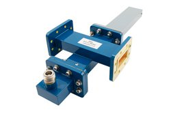 WR-137 Waveguide 50 dB Crossguide Coupler, CPR-137G Flange, N Female Coupled Port, 5.85 GHz to 8.2 GHz, Bronze