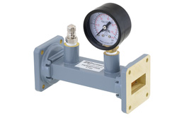 PEWSP1009 - WR-112 Waveguide Pressurizing Section 4.25 Inch Length, UG-51/U Square Cover Flange from 7.05 GHz to 10 GHz