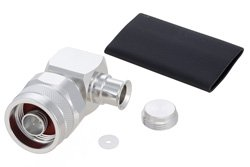 N Male Right Angle Low PIM Connector Solder Attachment for SPO-250, SPF-250