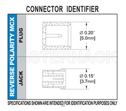 RP MCX Jack Bulkhead Connector Crimp/Solder Attachment For RG174, RG316, RG188, .177 inch D Hole View 2