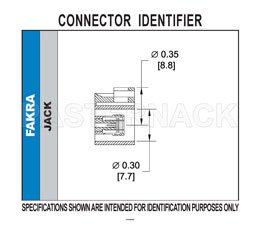 FAKRA Jack Right Angle Connector Crimp/Solder Attachment for RG174, RG316, RG188, .100 inch, PE-B100, PE-C100, LMR-100, White Color View 2