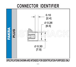 FAKRA Plug Right Angle Connector Solder Attachment Thru Hole PCB, Bordeaux Color View 2