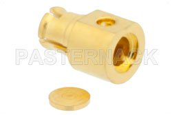 SMP Female Right Angle Connector Solder Attachment For PE-047SR, PE-SR047AL, PE-SR047FL, Up To 8 GHz View 2