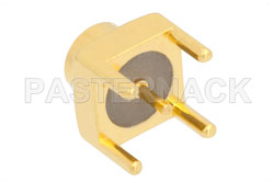 SMP Male Limited Detent Connector Solder Attachment Thru Hole PCB, Square Body, Up To 8 GHz View 2