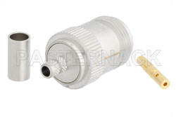 N Female Connector Crimp/Solder Attachment For RG223, RG142, RG400, RG55, White Bronze View 2