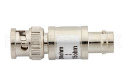 50 Ohm BNC Male to 75 Ohm BNC Female Matching Pad Operating From DC to 2 GHz RoHS Compliant View 2