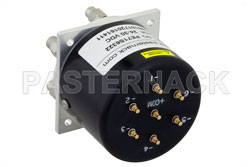 SP6T Electromechanical Relay Latching Switch, Terminated, DC to 40 GHz, 3W, 28V Self Cut Off, Indicators, Reset, 2.92mm View 2