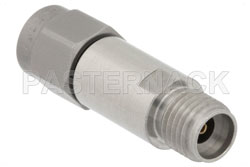 7 dB Fixed Attenuator, 2.92mm Male to 2.92mm Female Passivated Stainless Steel Body Rated to 2 Watts Up to 40 GHz View 2