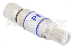 7 dB Fixed Attenuator, 75 Ohm F Male to 75 Ohm F Female Brass Tri-Metal Body Rated to 2 Watts Up to 3 GHz View 2