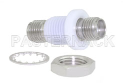 Isolated Ground SMA Female to SMA Female Bulkhead Mount Adapter, with Plastic Isolator View 2
