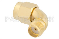 SMA Male to SMA Female Radius Right Angle Adapter, Gold Plated View 2