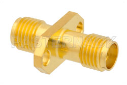 2 Hole Flange Mount SMA Female to SMA Female Adapter View 2