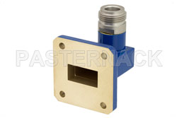 WR-75 Square Cover Flange to N Female Waveguide to Coax Adapter Operating from 10 GHz to 15 GHz View 2