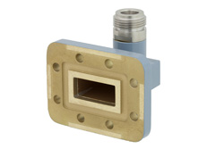 WR-90 CPR-90G Grooved Flange to N Female Waveguide to Coax Adapter Operating from 8.2 GHz to 12.4 GHz View 2