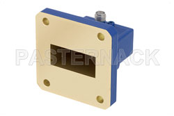 WR-112 UG-51/U Square Cover Flange to SMA Female Waveguide to Coax Adapter Operating from 7.05 GHz to 10 GHz View 2