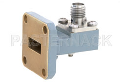 WR-42 UG-597/U Square Cover Flange to SMA Female Waveguide to Coax Adapter Operating from 18 GHz to 26.5 GHz View 2