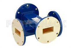 WR-137 Waveguide 20 dB Crossguide Coupler, UG-344/U Round Cover Flange, 5.85 GHz to 8.2 GHz, Bronze View 2