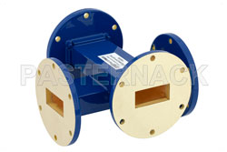 WR-137 Waveguide 50 dB Crossguide Coupler, UG-344/U Round Cover Flange, 5.85 GHz to 8.2 GHz, Bronze View 2