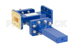 WR-112 Waveguide 40 dB Crossguide Coupler, CPR-112G Flange, SMA Female Coupled Port, 7.05 GHz to 10 GHz, Bronze View 2