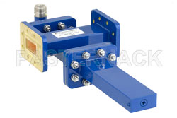 WR-112 Waveguide 40 dB Crossguide Coupler, CPR-112G Flange, N Female Coupled Port, 7.05 GHz to 10 GHz, Bronze View 2