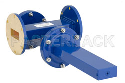 WR-137 Waveguide 40 dB Crossguide Coupler, UG-344/U Round Cover Flange, SMA Female Coupled Port, 5.85 GHz to 8.2 GHz, Bronze View 2