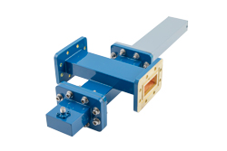 WR-137 Waveguide 30 dB Crossguide Coupler, CPR-137G Flange, SMA Female Coupled Port, 5.85 GHz to 8.2 GHz, Bronze View 2