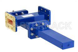 WR-137 Waveguide 50 dB Crossguide Coupler, CPR-137G Flange, SMA Female Coupled Port, 5.85 GHz to 8.2 GHz, Bronze View 2