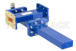 WR-137 Waveguide 40 dB Crossguide Coupler, CPR-137G Flange, N Female Coupled Port, 5.85 GHz to 8.2 GHz, Bronze View 2