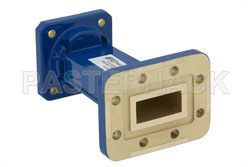 WR-90 to WR-75 Waveguide Transition 3 Inch Length, CPR-90G Grooved Flange to Square Cover Flange View 2